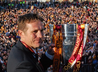 Phil Parkinson with Trophy