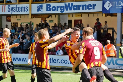 Billy Knott Celebrate's James Hansons Goal