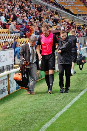 Hartlepool's Sam Collins with Bradford Club Doctor