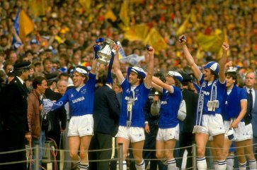 19 May 1984: Everton celebrate after the FA Cup Final against Watford at Wembley Stadium in London. Everton won the match 2-0. Mandatory Credit: David Cannon /Allsport